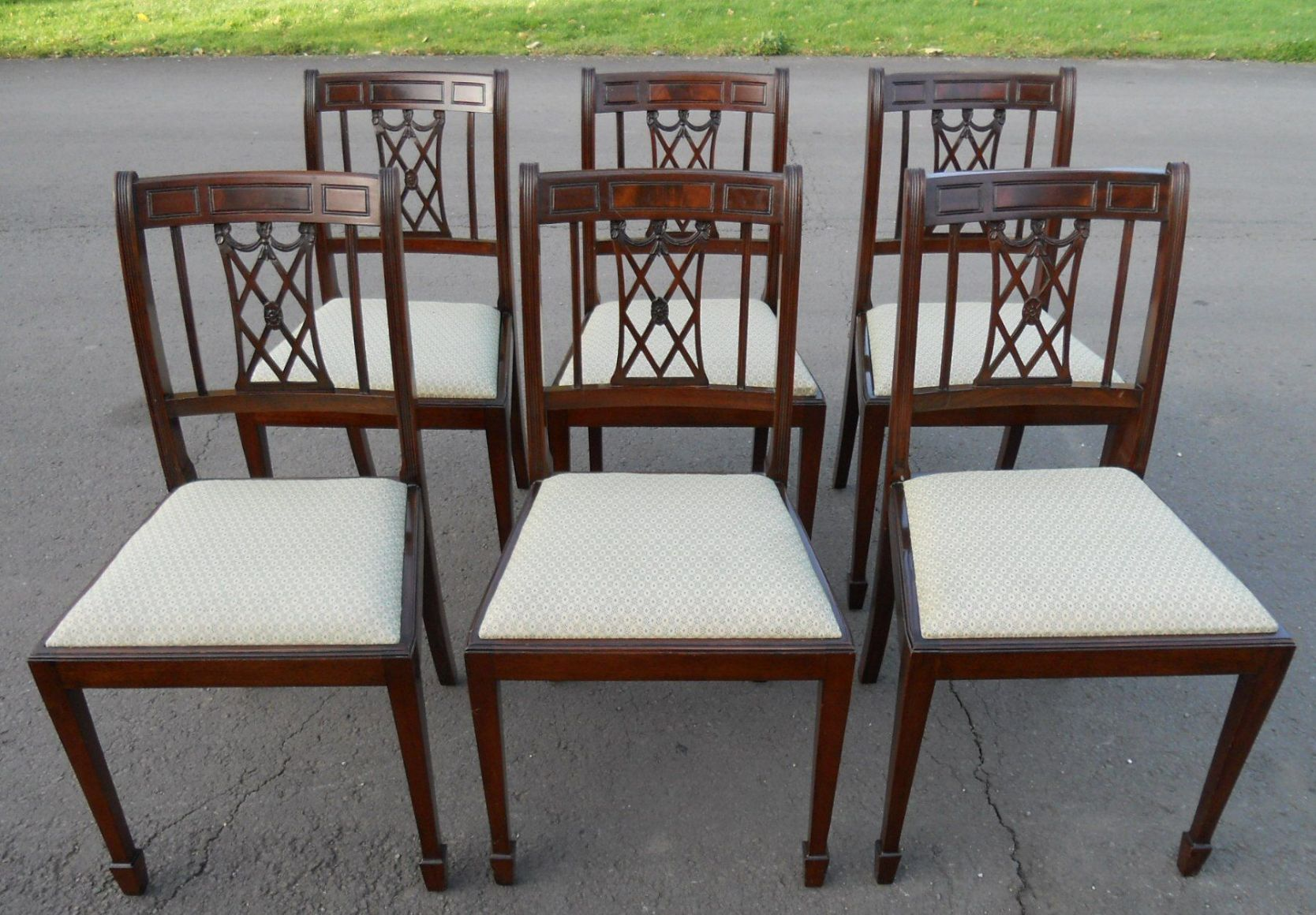 Set Of Eight Mahogany Antique Style Dining Chairs